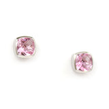 Sterling Silver Bezeled Studs-Cushion Pink Quartz