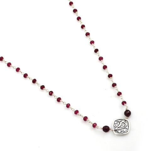 Garnet and Sterling Silver Station Necklace
