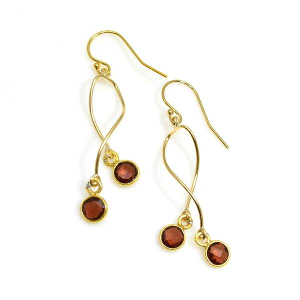 Gold Garnet Spiral Earrings