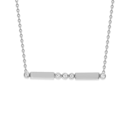 White Gold Diamond Bar Necklace- Colored Gold Jewelry