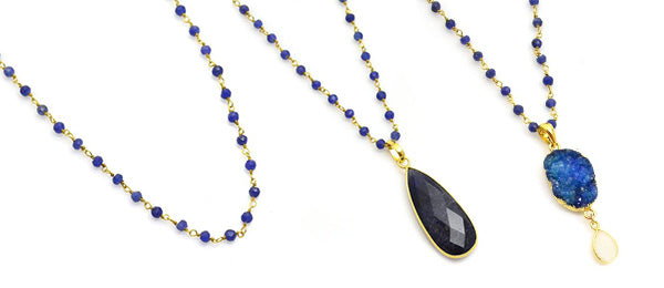 Blue Sapphire Pendant and Chains Lisa Robin Jewelry