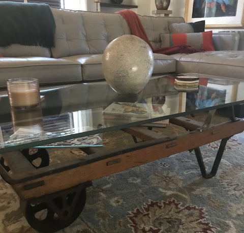 Repurposed Barrel Cart Coffee Table | Unconventional Woman
