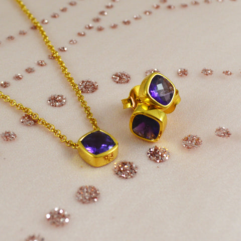 Amethyst necklace and stud earrings