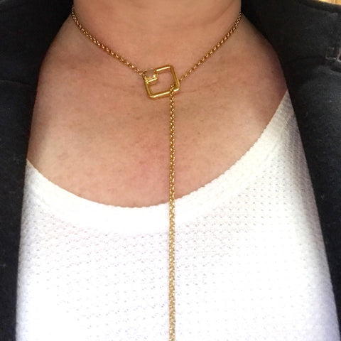 Gold Lariat Necklace by Lisa Robin