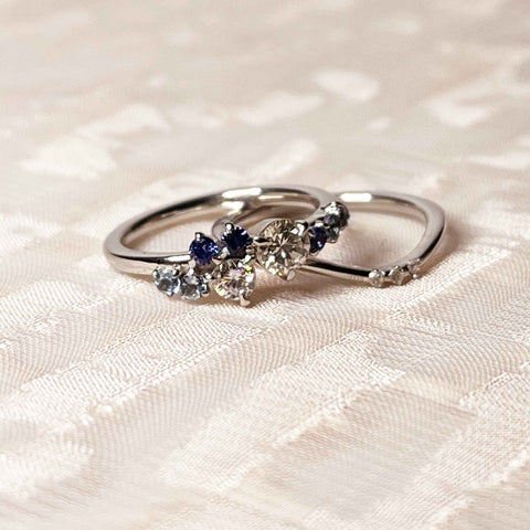 Blue Sapphire Aqua Marine and Diamond Ring
