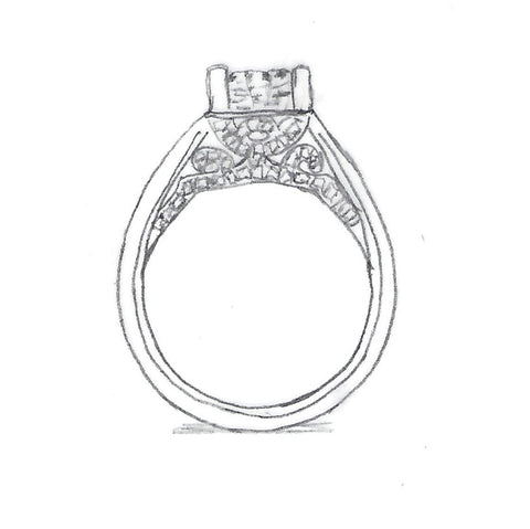 Custom Engagement Ring Sketch | Lisa Robin jewelry