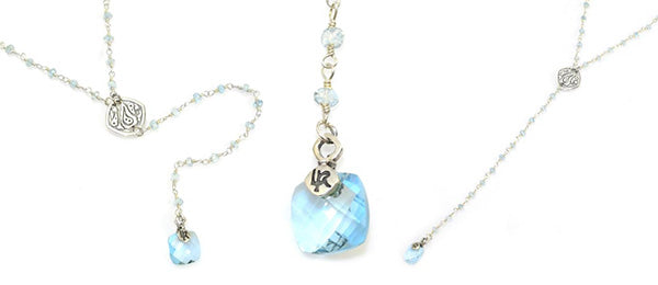 Lisa Robin Jewelry Y Necklace Blue Topaz with Pendant