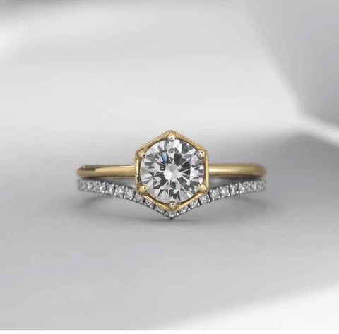 Vintage Inspired Hexagon Engagement Ring