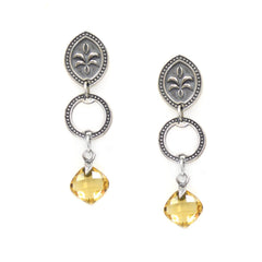 Citrine long drop dangle earrings