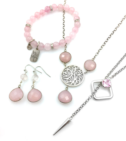 Lisa Robin jewelry in pale pink gemstones