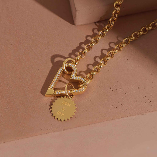 14K Gold Diamond Push Lock Necklace-Rolo Chain - LISA ROBIN