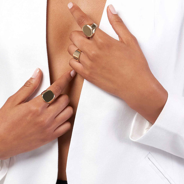 14K Gold Engravable Signet Ring- 3 Styles - LISA ROBIN