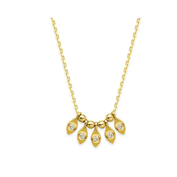 14K Gold Marquise Diamond Charm Necklace - LISA ROBIN