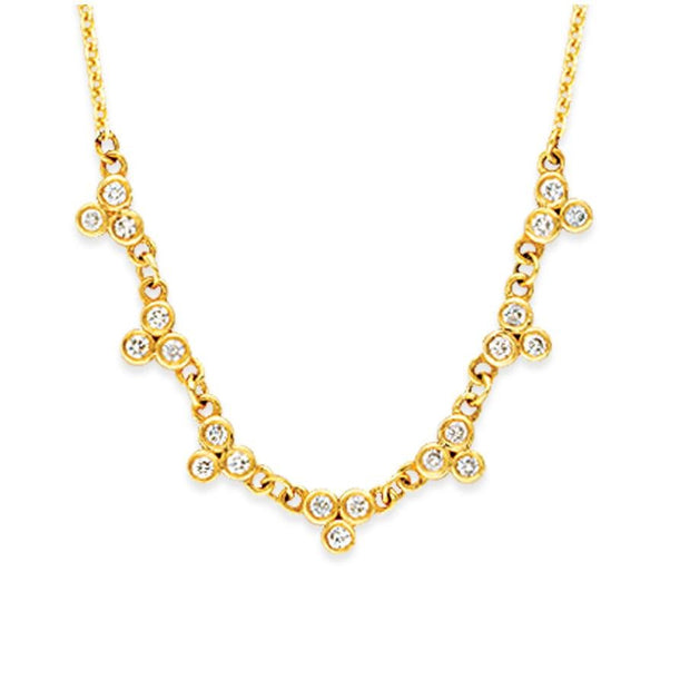 14K Gold Trio Bezeled Diamond Necklace - LISA ROBIN
