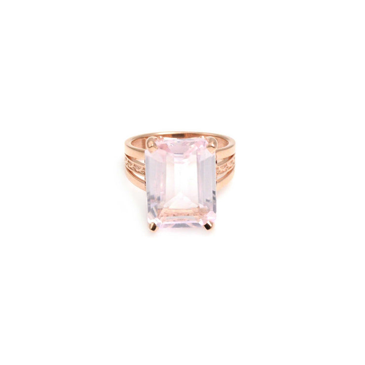 Custom Rose Gold Kunzite Ring with Rubies Size 6.5 |  Lisa Robin Jewelry