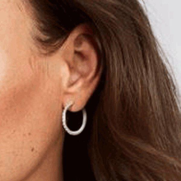 Diamond White Gold Inside Out Hoops-0.6 ctw - Lisa Robin