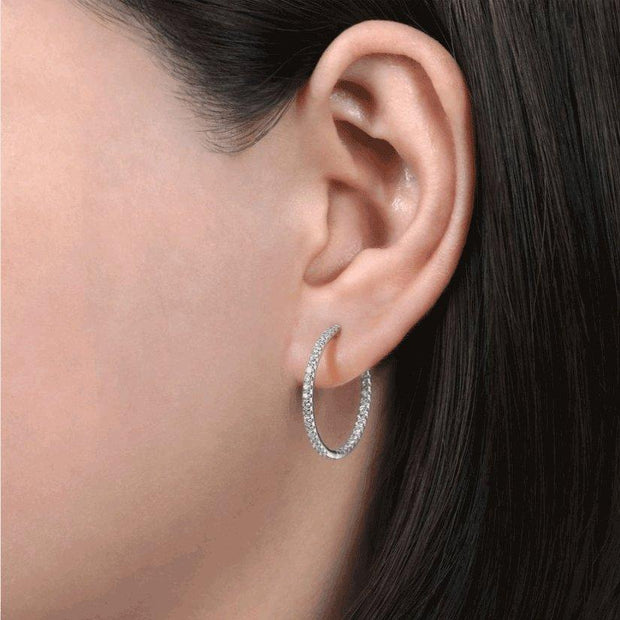 Diamond White Gold Inside Out Hoops-0.75 ctw - Lisa Robin
