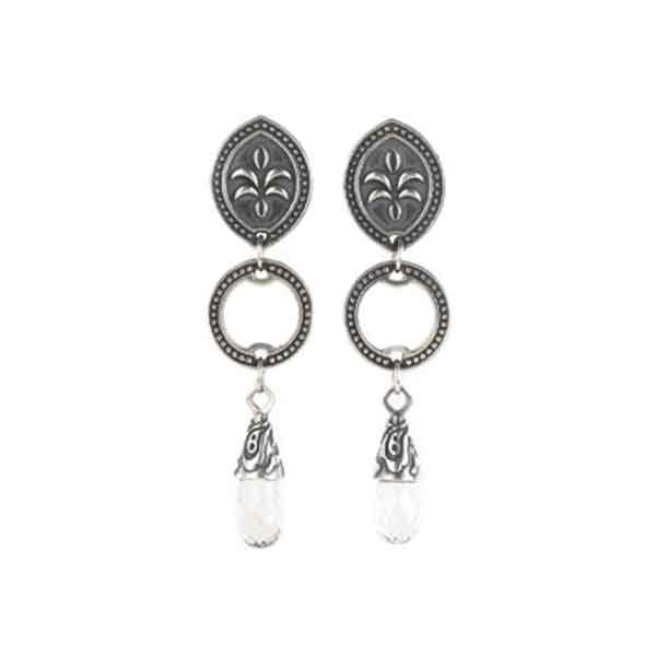 Earrings Sterling Silver Circle and Gemstone - LISA ROBIN
