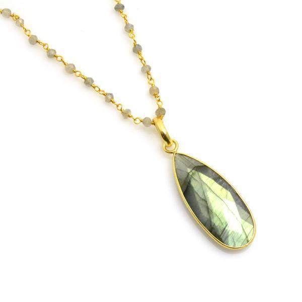 Gold Bezeled Large Gemstone Teardrop Pendant - Lisa Robin