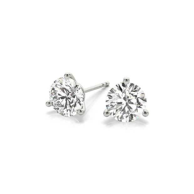 Lab Created 3 Prong Diamond Stud Earrings - LISA ROBIN