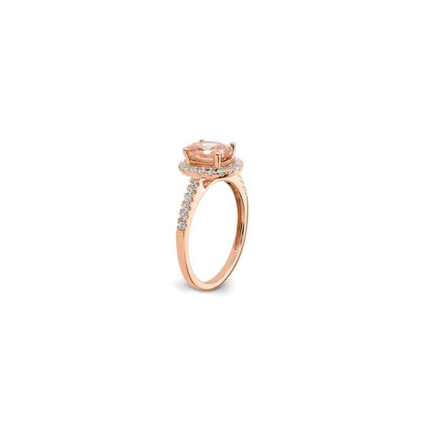 Oval Morganite and Diamond Rose Gold Engagement Ring - Lisa Robin