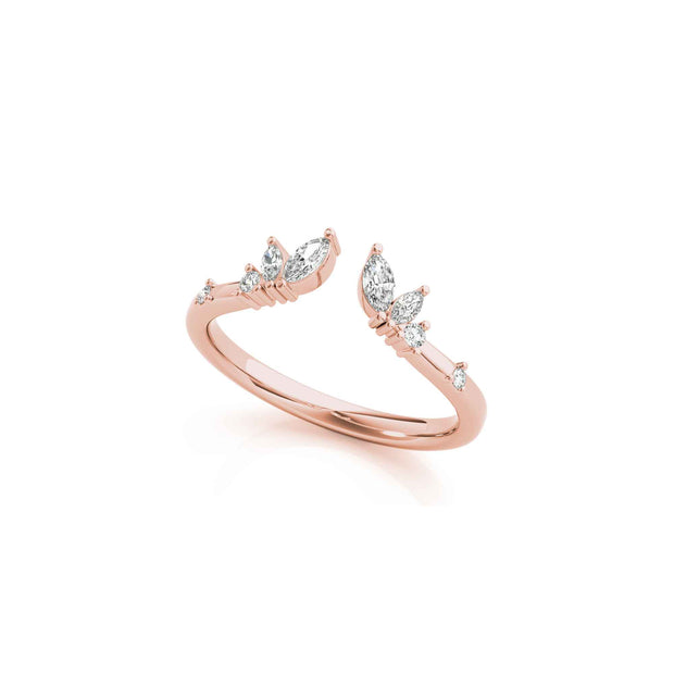The Claire Marquise Diamond Gold Band Ring - LISA ROBIN
