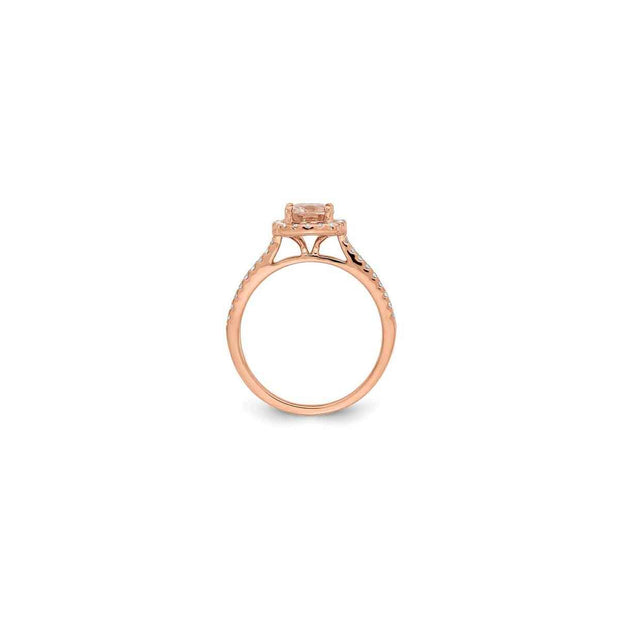 The Elena Morganite and Diamond Rose Gold Engagement Ring and Bands - LISA ROBIN