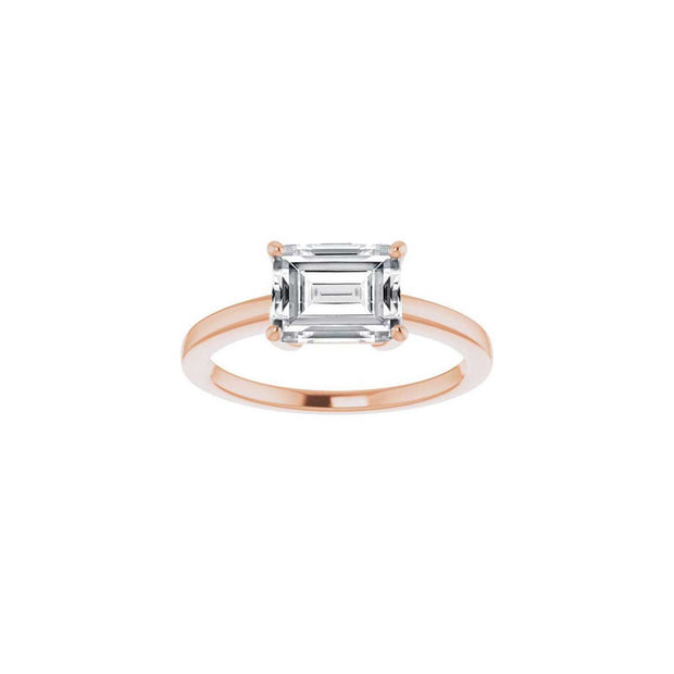 The Valentina Moissanite Emerald Cut Solitaire Engagement/Promise Ring
