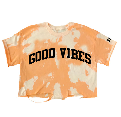Good Vibes Acid Wash Crop Tee