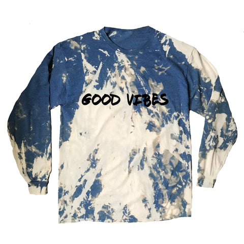 GOOD VIBES Graffiti Acid Wash Long Sleeve