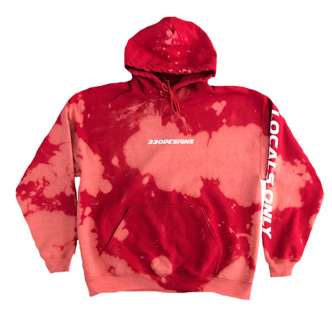 Locals Only Red Acid Wash Hoodie