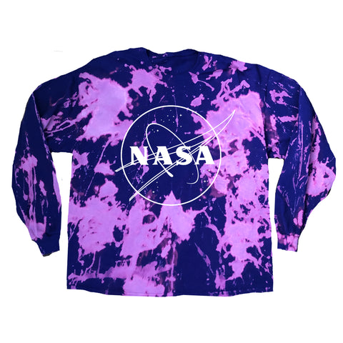 """NASA"" Logo Purple Acid Wash Long Sleeve"