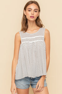 Ruched Front Dot Print Top