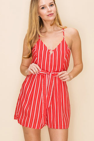 V Neck Stripe Cross Back Romper With Waist Tie