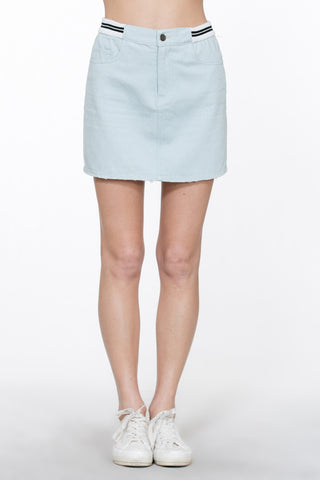 Waist Band Mini Denim Skirt