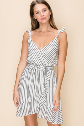 Stripe Ruffle Dress with Surplice Top and Waist Tie