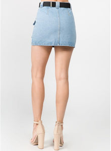 Pocket Front Belted Denim Skirt