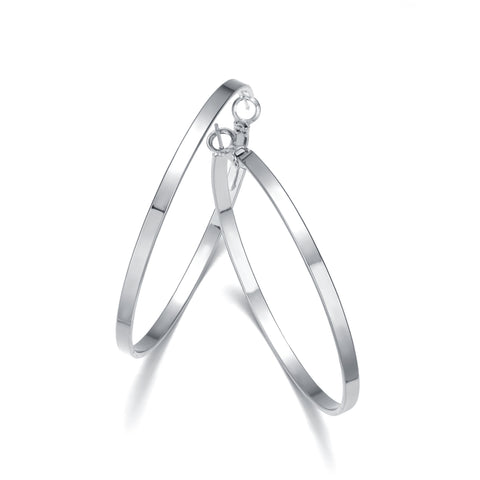 Hoop Earrings Silver 50mm By Jewels To Jet-Jewels to Jet-Magnetic Clasp Jewelry