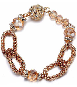 Anastasia: Golden Looped Chains & Sparkling Topaz Beaded Bracelet-Jewels to Jet-Magnetic Clasp Jewelry