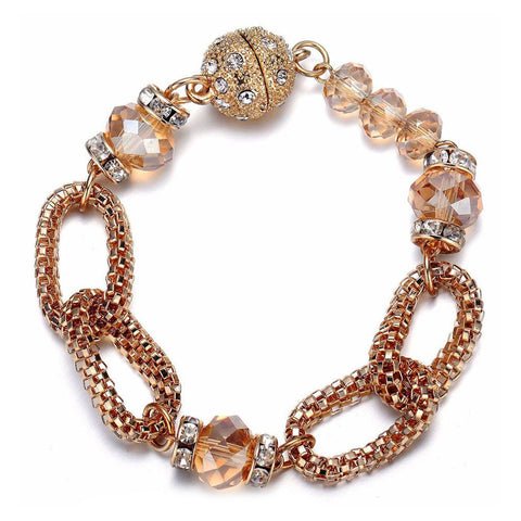 Anastasia: Golden Looped Chains & Sparkling Topaz Beaded Bracelet - Jewels to Jet