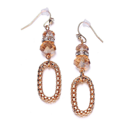 Anastasia: Golden Looped Chain & Topaz Beads Earrings-Jewels to Jet-Magnetic Clasp Jewelry