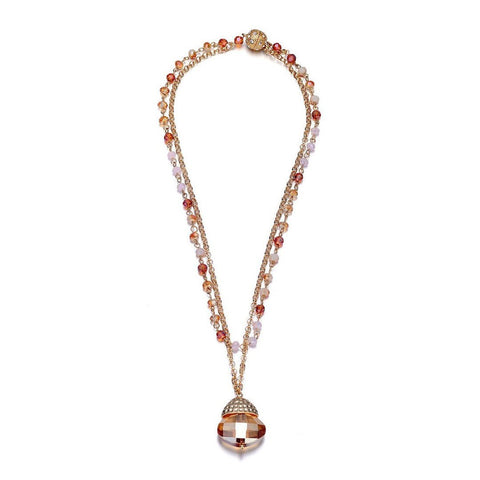 Anastasia: Double-strand Gold Tone Necklace with Topaz Medallion-Jewels to Jet-Magnetic Clasp Jewelry