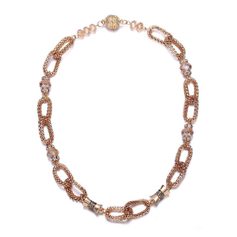 Anastasia: Golden Looped Chains & Topaz Beads Necklace-Jewels to Jet-Magnetic Clasp Jewelry