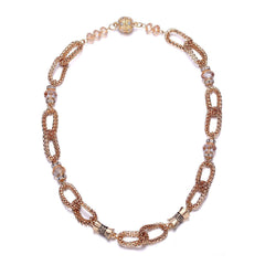 Anastasia: Golden Looped Chains & Topaz Beads Necklace