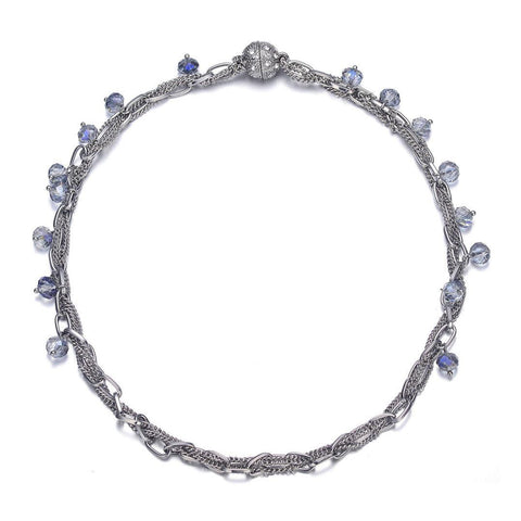 Clarice: Silver Single Strand Necklace With Magna Clasp-Jewels to Jet-Magnetic Clasp Jewelry