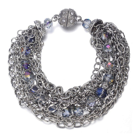 Clarice: Silver Interwoven Bracelet With Magna Clasp-Jewels to Jet-Magnetic Clasp Jewelry