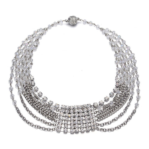 Elizabeth: Multistrand Silver Necklace With Magna Clasp - Jewels to Jet
