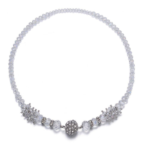 Elizabeth: Single Strand Silver Necklace With Magna Clasp-Jewels to Jet-Magnetic Clasp Jewelry