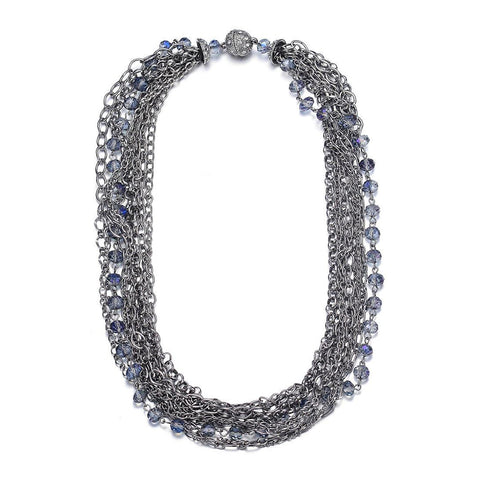 Clarice: Silver Multistrand Necklace With Magna Clasp-Jewels to Jet-Magnetic Clasp Jewelry