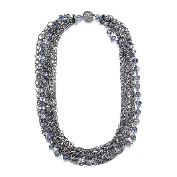 Clarice Multi-Strand Necklace: Silver or Gold-Jewels to Jet-Magnetic Clasp Jewelry